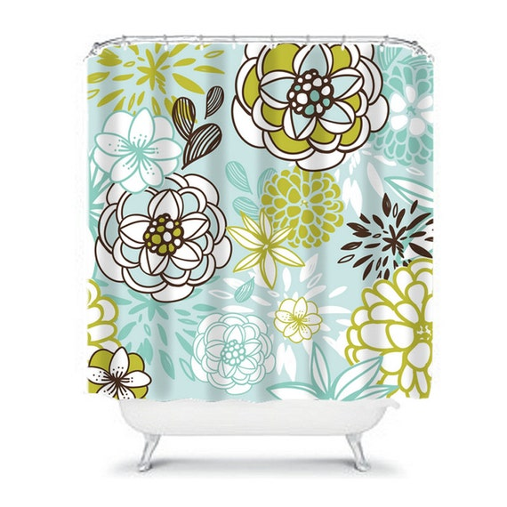 Items similar to Floral SHOWER CURTAIN Aqua Brown Flowers ...