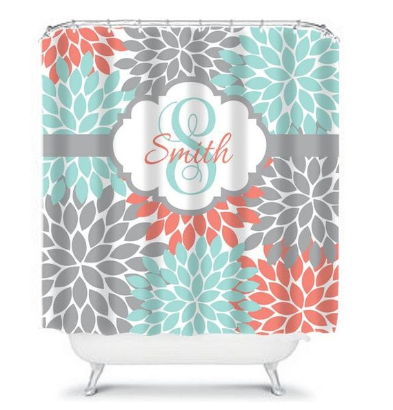 items similar to aqua coral gray shower curtain custom monogram flower burst personalized. Black Bedroom Furniture Sets. Home Design Ideas