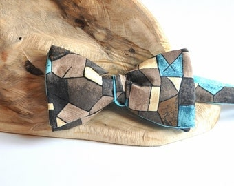 Brown Geometric Bow Tie. Teal Self Tie Bow Tie. Turquoise Bow Tie. Light Blue Bow Tie.