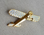 Airplane Lapel Pin Brooch by Swarovski - Gold Tone with Pave Set Diamanté Rhinestones - Signed - Gift Boxed