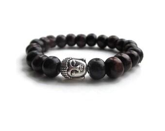 Wooden Bead Bracelet, Buddha Bracelet, Mens bead Bracelet, Boho Bracelet, Silver Buddha Bracelet, Yoga bracelet