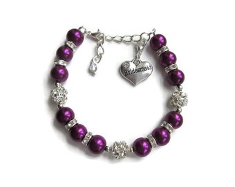 Dark purple bridesmaid bracelet, purple pearls, bridesmaid gift, charm bracelet, bridesmaid jewellery, jewellery UK