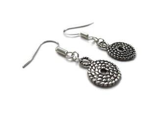 Silver earrings, simple earrings, tribal spiral earrings, minimalist earrings, earrings UK, jewellery UK