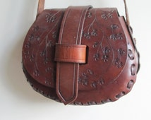 Vintage Tooled Leather Shoulder Bag 39