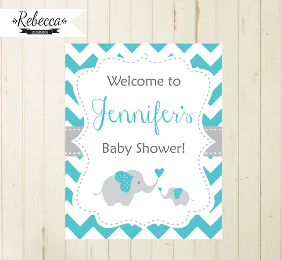 welcome sign baby shower elephant blue turquoise welcome sign