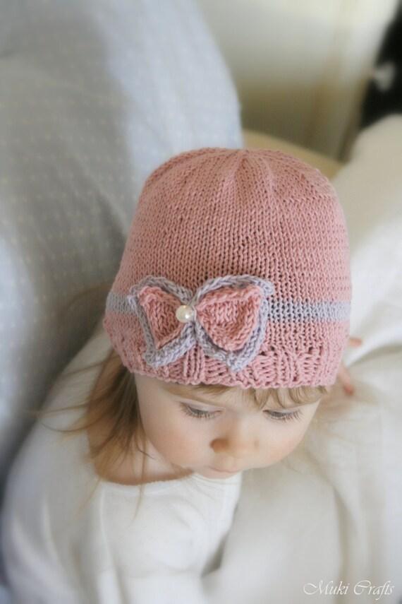 KNITTING PATTERN beanie bow hat Zoe baby toddler child