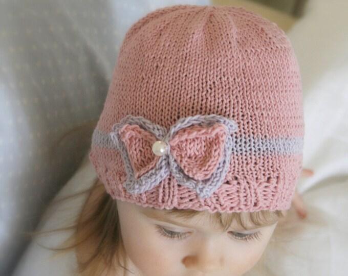 KNITTING PATTERN beanie bow hat Zoe (baby, toddler, child sizes)