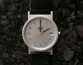 1990s Braun Men's Wrist Watch. Quartz Movement. Made in Germany. Waterproof. Black Leather Band.