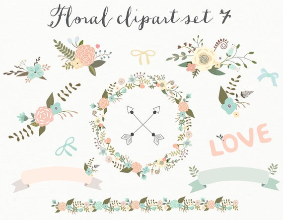 Floral clipart wedding clipart digital wreath flowers for Couronne shabby chic