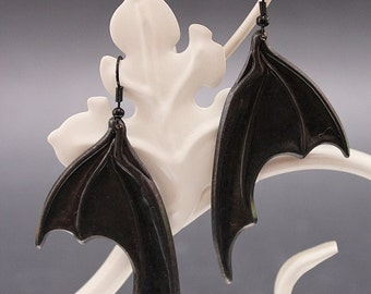 Halloween Dragon / bat wings Vampire Gothic earrings - black patina - Victorian Gothic Jewelry