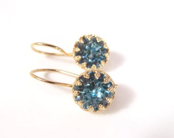 Aquamarine Earrings, Blue Swarovski Earring, Gold earrings, March Birthstone Earring, Aquamarine Jewelry, Something Blue, Bridesmaid Gift