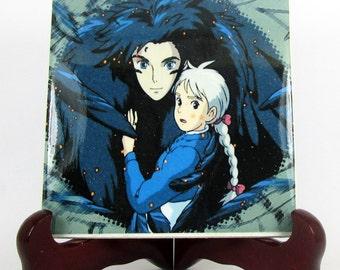 Studio Ghibli, Howl and Sophie from Howl's moving Castle, collectible Ceramic Tile, Handmade, Hayao Miyazaki, Anime, Manga, Japanese, Mod.1