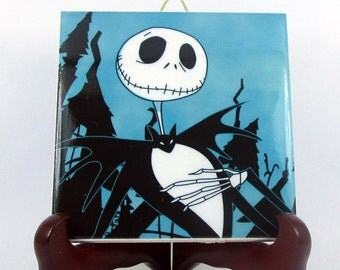 The Nightmare before Christmas - Jack Skellington collectible ceramic tile - Jack Skellington art - Jack Skellington gift idea -  mod. 53
