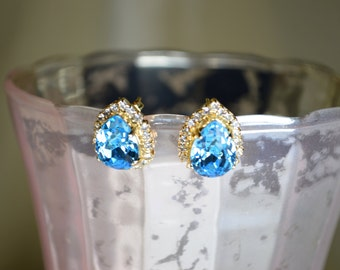 Aquamarine Swarovski Pear Earrings - 14k Gold Plated w/ rhinestone trim