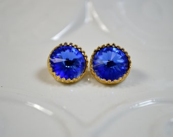Sapphire Swarovski Crystal Post Earrings - 14k gold plated