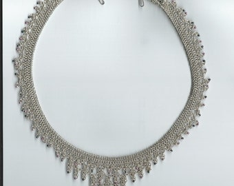 Sterling Silver Micro Chain mail Necklace with beads.