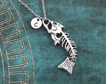 Fishbones Necklace, LARGE Silver Fish Bone Necklace, Fish Necklace, Dead Fish Jewelry, Fishing Necklace, Fishing Gift, Fish Bones Necklace