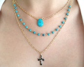 Turquoise Necklace Delicate turquoise gold necklace bridesmaild necklace triple strand turquoise necklace cross pendant turquoise jewelry