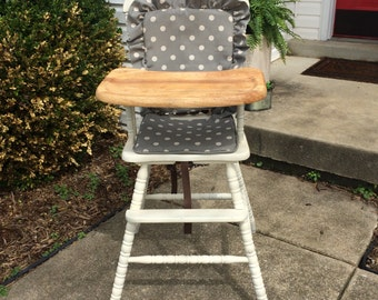Wooden Highchair Cover/Cushion/Pad. High Chair Cover/Cushion/Pad Gray Polka Dot Cushion for vintage highchairs.