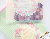 60% OFF SALE Floral Wreath & Stripes 25pc Poly Bags Set - packaging, treat bag, clear gift bags, favours, flowers, japan, pink green, french