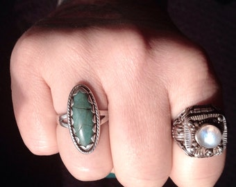 Bell Trading Native American Stormy Mountain Turquoise + Sterling Silver Ring Size 8