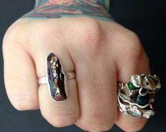 Chocolate Biwa Freshwater Pearl Sterling Silver .925 ring sz  8.5