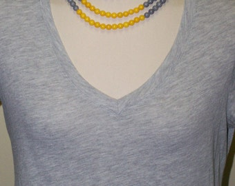 Multi Strand, Jade Necklace, Three Layered, Stone Necklace, Yellow, Black and Grey Necklace - Mashan Jade Necklace