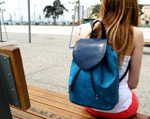 Blue Backpack, Vegan leather backpack,  Womens backpack
