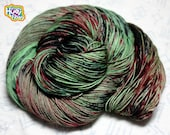 Hair Of The Walker That Bit Ya - DYED TO ORDER Fingering Sock Yarn 4 ply 460yd 100g 75/25 Superwash Merino/ Nylon - Zombie Green, Black, Red