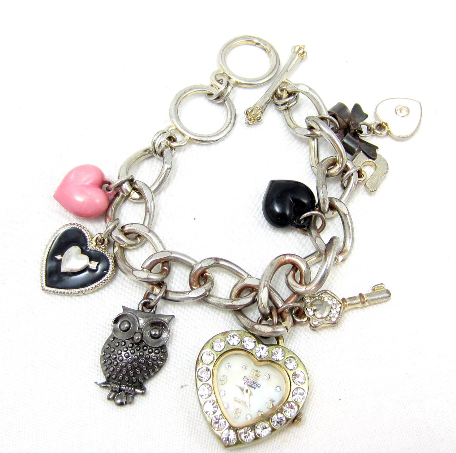 silver clock charms black models picture