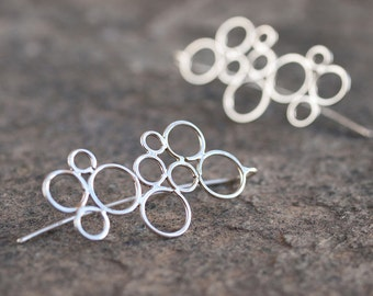 Minimalist Bubbles Sterling Silver Dangle Earrings Circles Earrings Contemporary Modern Simple and Light Handmade Jewelry