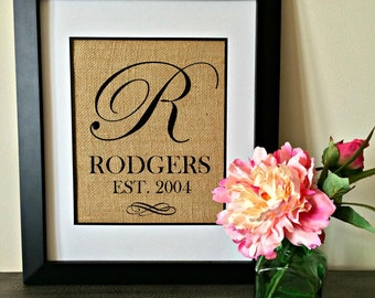 Burlap Monogram. Personalized Burlap. Established Sign.