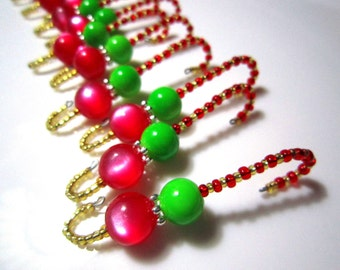 Elf Theme Shiny Red and Lime Green Beaded Ornament Hangers - 12 Fully Beaded Ornament Hooks with tiny seed beads in red and gold