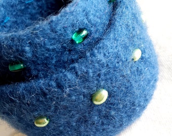 2 Nested Blue Felted Beaded Bowls
