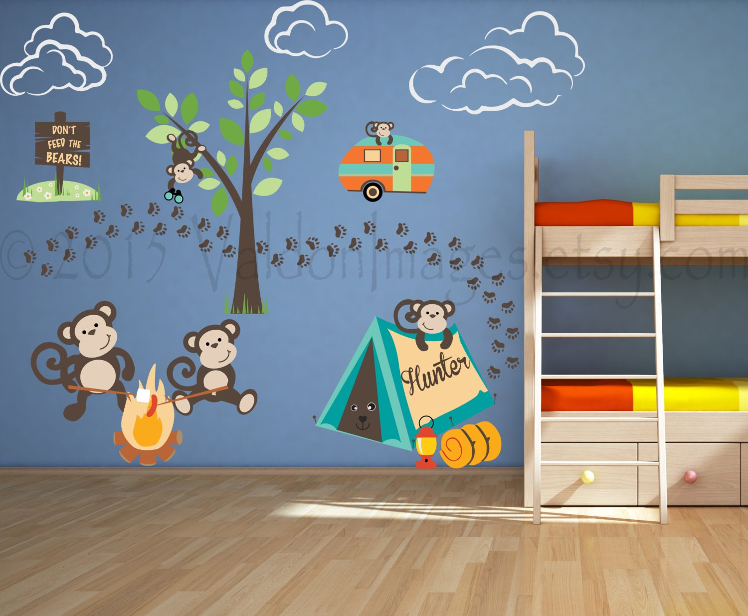 monkey nursery wall decal outdoor decor camping wall decal zoom