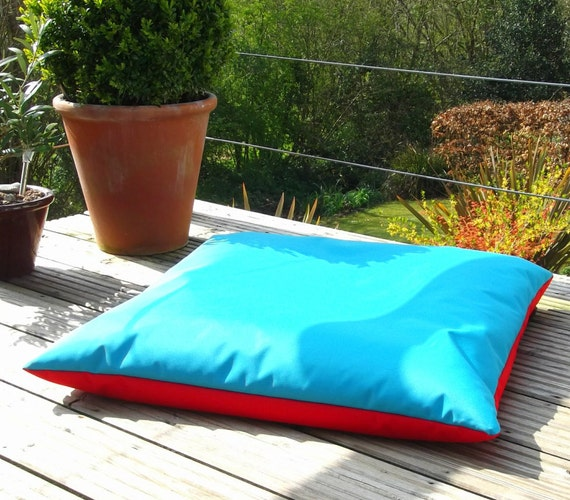 Beanbag floor cushion BEANIE FLAT Turquoise & Red made in