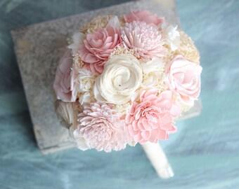 Sola Flower Bridal Bouquet, Bridesmaids Bouquet,Pink, Baby Pink, White Bridesmaids Bouquet, Keepsake Bouquet, Alternative Bouquet