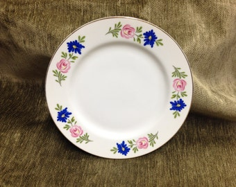 Sheffield Cake Plate, Sheffield Boutique Plate, Sheffield Salad Plate, Floral Plate with gold trim