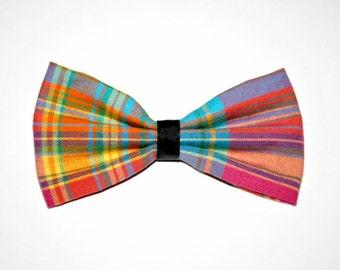 Rainbow Plaid Bow Hair Clip