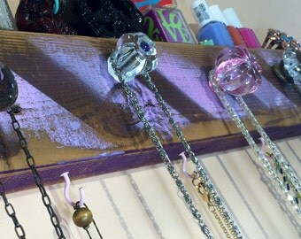 Necklace holder / jewelry hanger / reclaimed wood wall hanging / decorative wall rack distressed lavender stripes plum edges 5 knobs 4 hooks