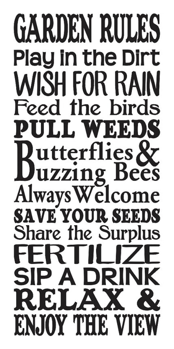 Primitive Spring Summer Stencil Garden Rules Large