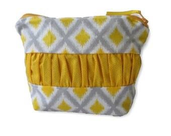Zip Pouch | Cosmetic Bag | Toiletry Organiser| Travel Bag |medium Zip Pouch | cosmetic case, linen and blue
