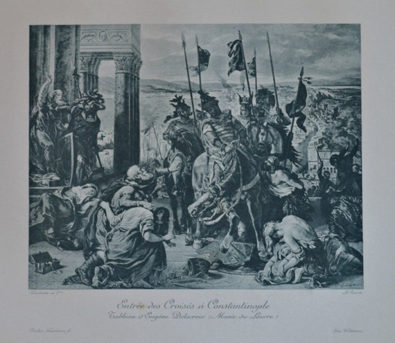 Entry of the Crusaders in Constantinople. Antique lithograph. 111 years old print. 11'7 x 8'2 inches.