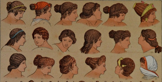 Roman ornaments and headdresses in the Classical antiquity. Antique print,1894.  121 years old print.  11,5 x 8,4 inches.