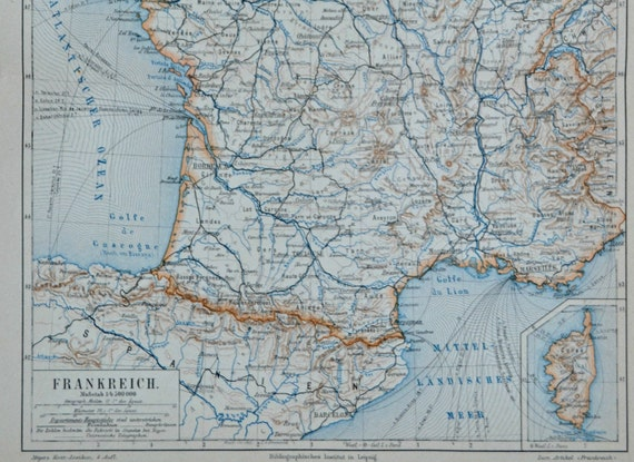 France map in the 19th century. Communication routes. Old book plate, 1890. Antique illustration. 124 years lithograph. 9'4 x 11'7 inches.