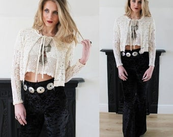 20% OFF 1970's Cream Lace Fringed Blouse