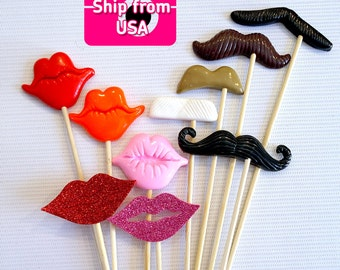 10Pc  Photobooth Props, Polymer Clay Lips and Mustache Props, Photo booth Props, Photo Props, Wedding, Birthday, Event Props