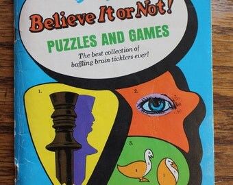 Vintage 1966 First Edition Paperback of Ripley's Believe It or Not Puzzles and Games