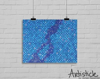 Abstract River Art - Blue Art Print - Water Artwork - Geometric Art - Modern Home Decor - Navy Blue Art - Living Room Art - Square Drawing