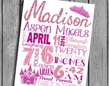 Princess Theme Nursery Art Birth Stats Wall Hanging Nursery Printables Crowns Sparkles Castle Pink and Purple Digital File Decorations